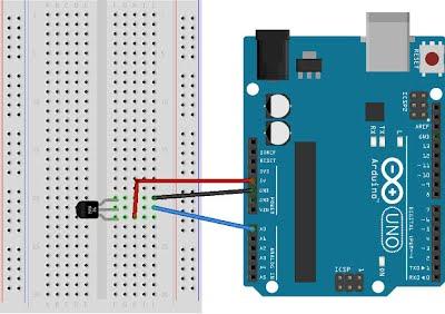 Temperature measuring breadboard circuit
