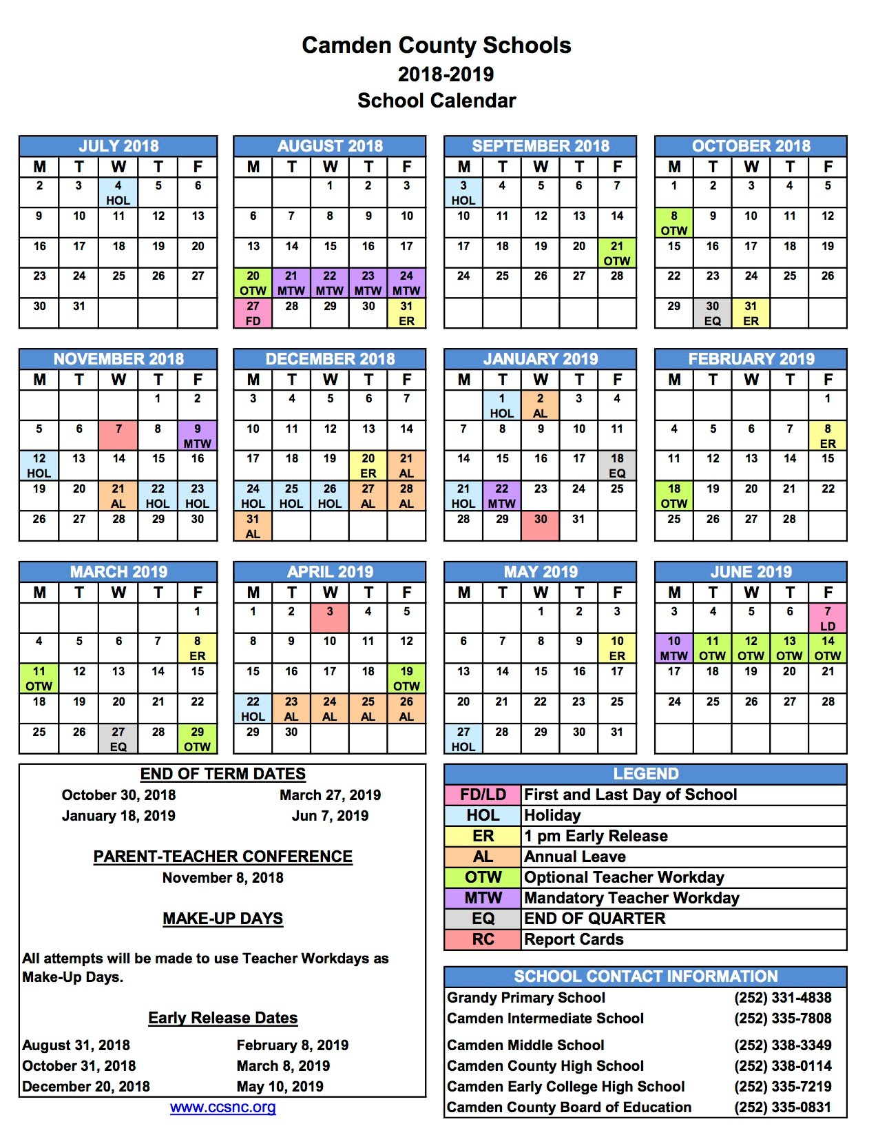 Ccs Calendar 2019 School Calendar   Theresa Langton Website