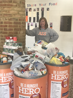 picture of Mrs. Herndon during the food drive