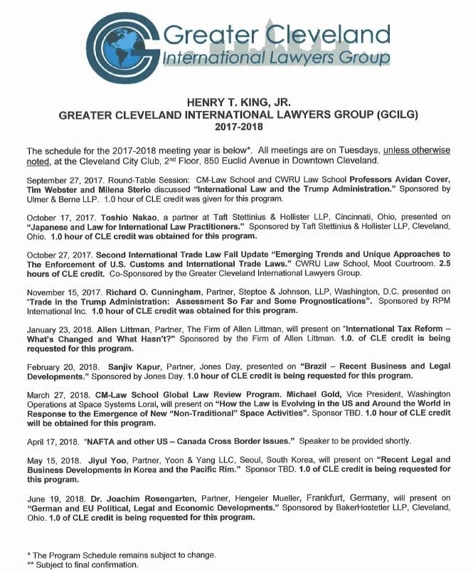 2ae5b891e12 Speaker Schedule - Greater Cleveland International Lawyers Group