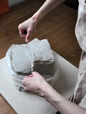 Prepping Clay and Attaching it to the Wheel - Throwing a Teapot