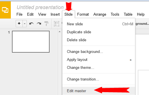 how do i edit a slide master in google presentation gogoogle