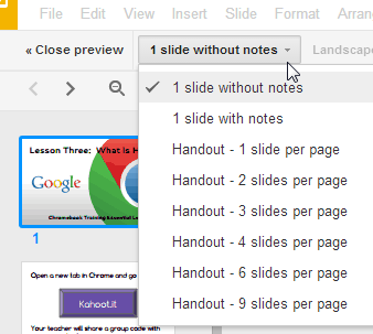 print multiple slides on a page or print slides with notes gogoogle