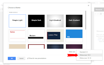 what is widescreen in google presentation and how do i use it