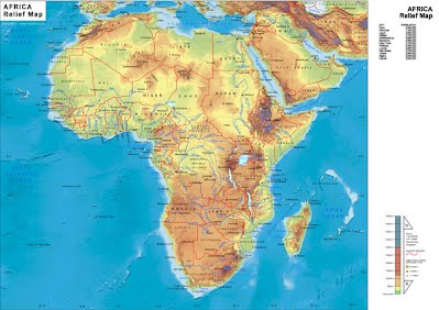 Physical Map Of Africa South Of The Sahara | Map Of Africa