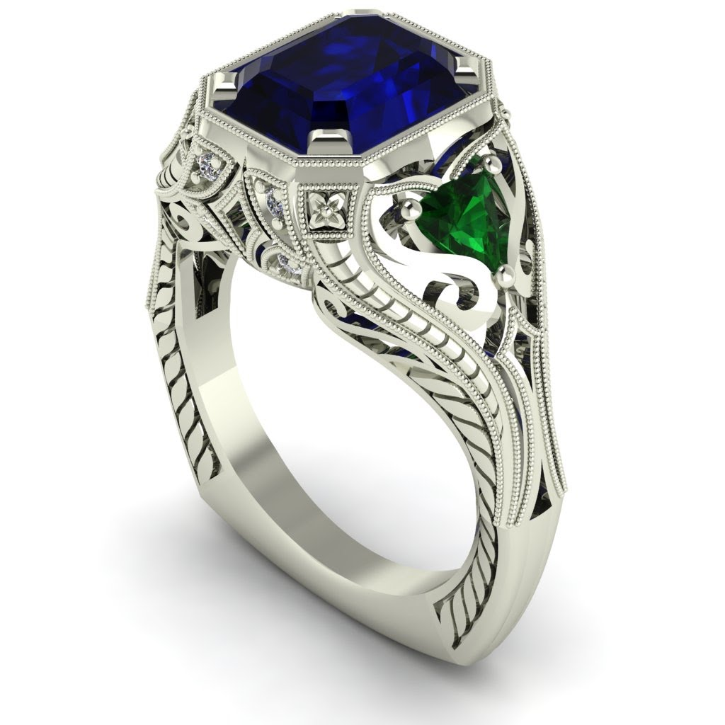 Masonic Wedding Band 29 Elegant Vintage Inspired Sapphire and