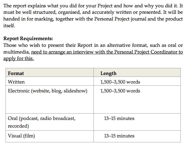 Phase 7 - Reporting - IB MYP Personal Project