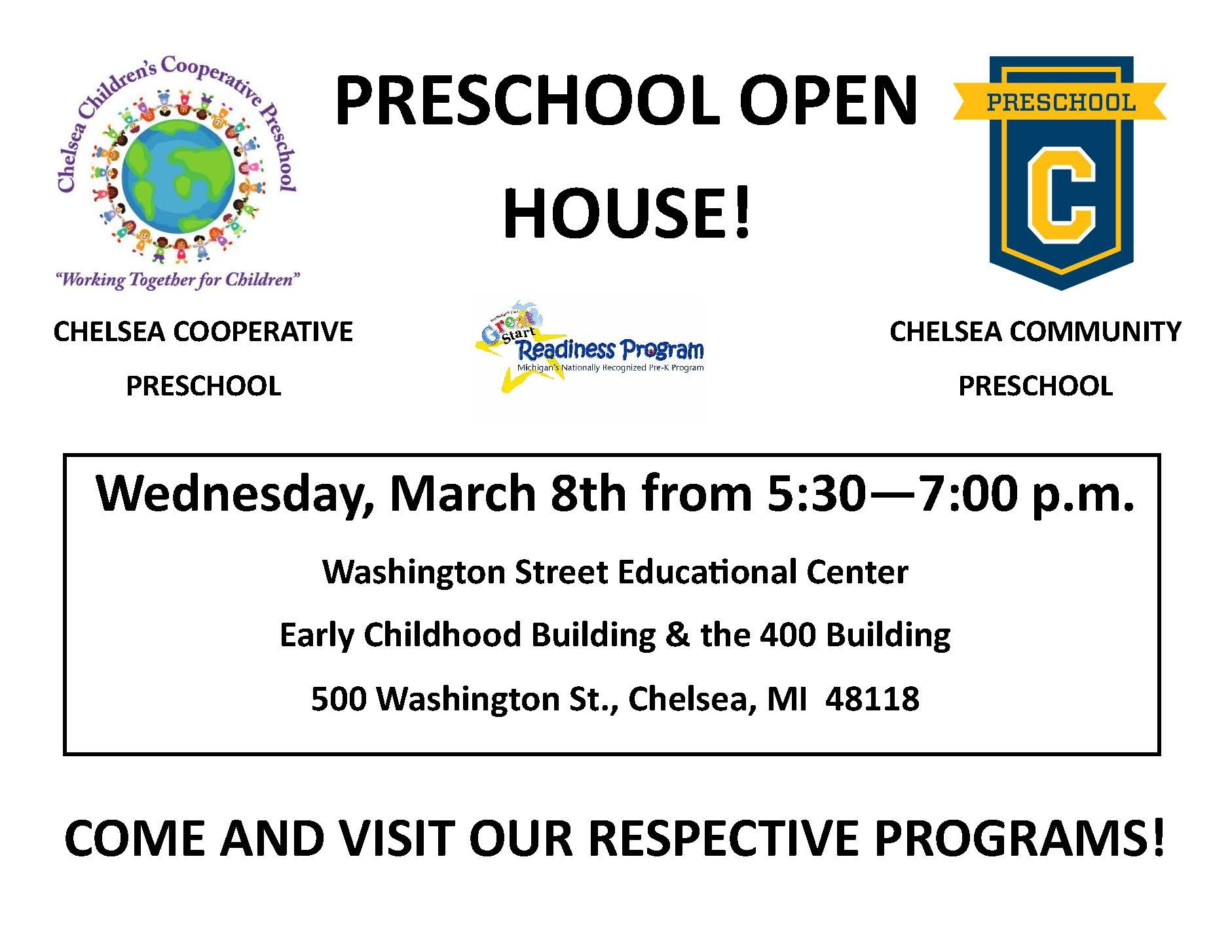 Open house flier with time and places of joint open house.  March 8th from 5:30 - 7:00 pm 500 Washington Street.  Has logo of each school