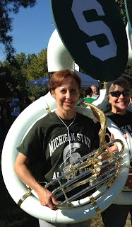 Photo of Mrs. Grover playing tuba