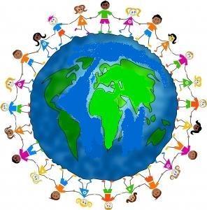 Children standing around the Earth
