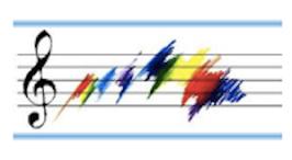 Rainbow of color on music staff