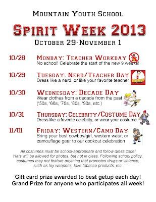 School Spirit Week 2013 Mountain Youth School