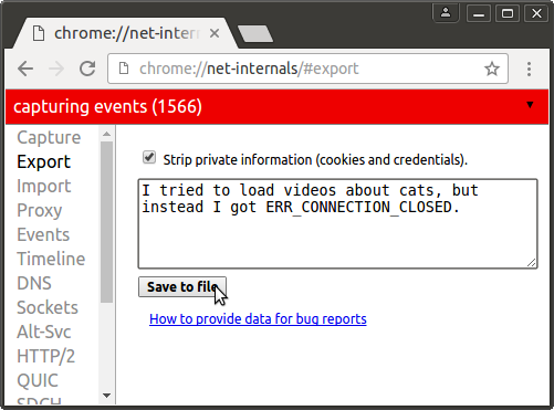An image showing how to save the net-internals log to a file.
