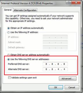 Windows NIC IPV4 網路使用Google公用DNS