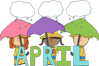 children under umbrellas with the word April