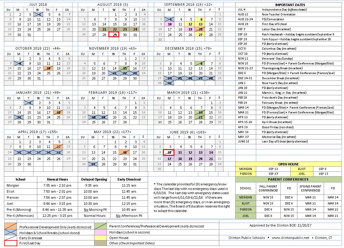 2018-19 School Year Calendar