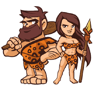 cartoon caveman and woman with club