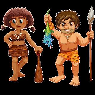 cartoon caveman and woman