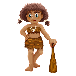 Cartoon Cavewoman with club 1