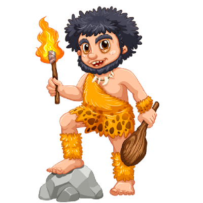 funny caveman holding fire torch and club