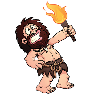 funny caveman holding fire torch