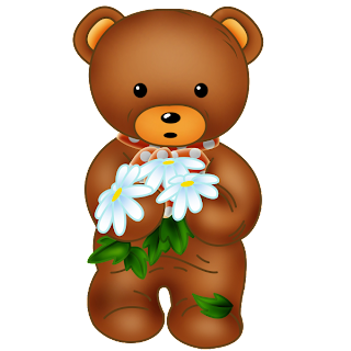 baby brown bear holding flowers for mother's day