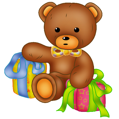 baby brown bear holding gift boxes