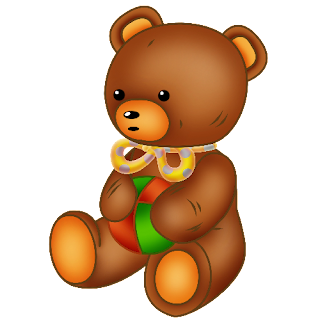 baby brown bear holding green and red ball