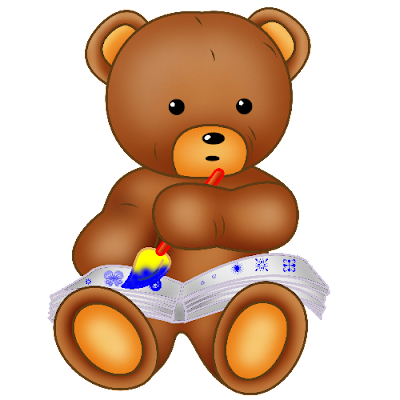 baby brown bear sitting and painting
