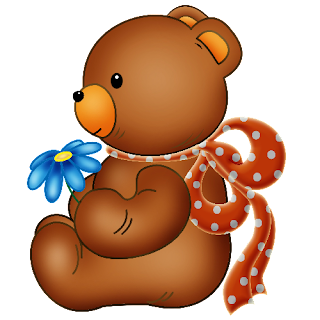 Baby_Brown_Bear_Red_Bow_Blue_Flowers