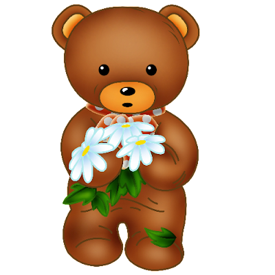 Baby_Brown_Bear_Red_Bow_White_Flowers