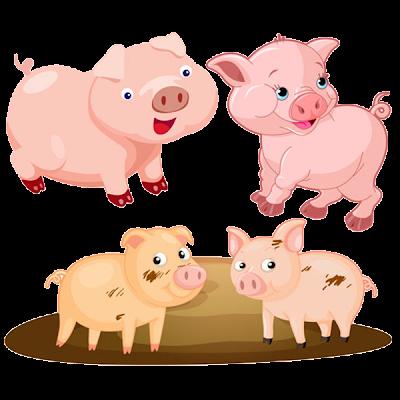 Funny Cartoon Pigs - Farm Animal Images