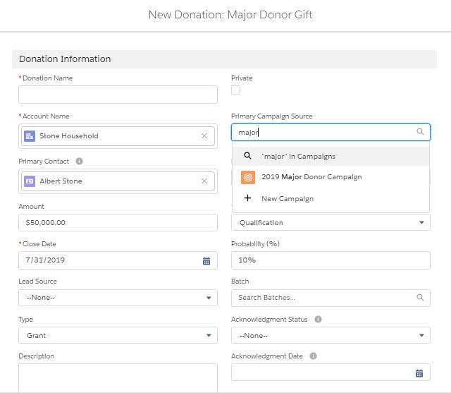 Creating Individual Donations