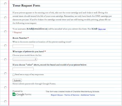 Toner Request Form Heather Ramsey