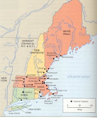 Map Of The 4 New England Colonies.New England Colonial America