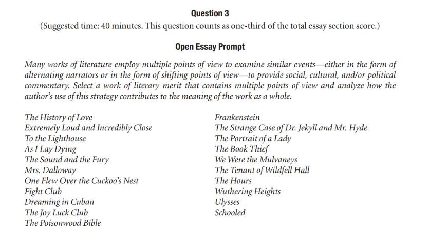 ap literature essay topics   ap literature exam essay prompts for  ap literature essay topics