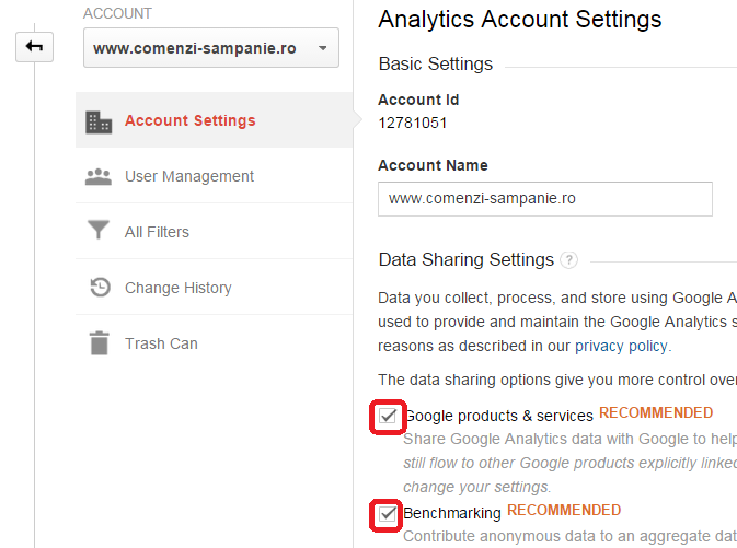 configurare google analytics Cont [ 2 ]