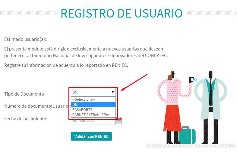 Registro de usuario - tipo de documento
