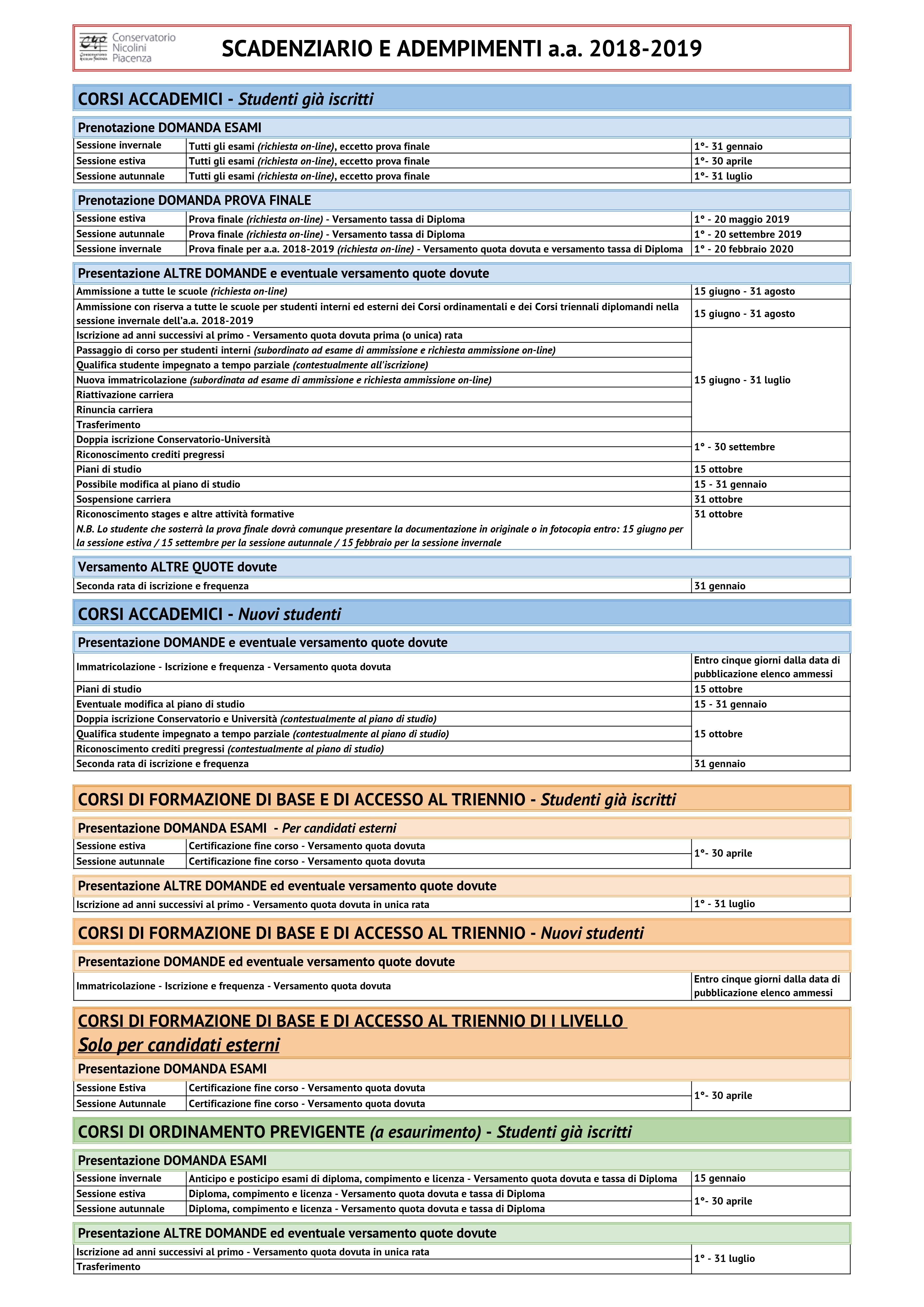 Calendario Esami Unige.Calendario Accademico 2017 Conservatorio Di Piacenza