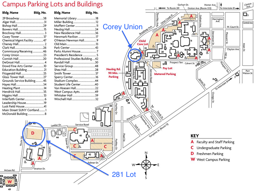 Directions/Parking Information   SUNY Cortland Recreation Conference