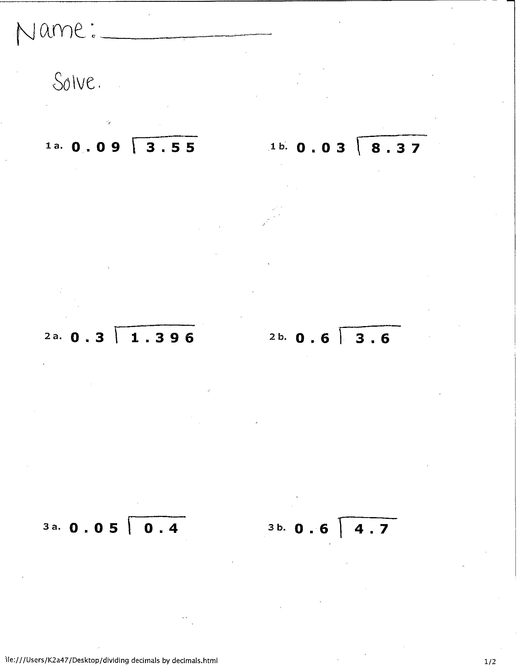 "Worksheet #12241584: Division with Decimals Worksheets ??"" Dividing ..."
