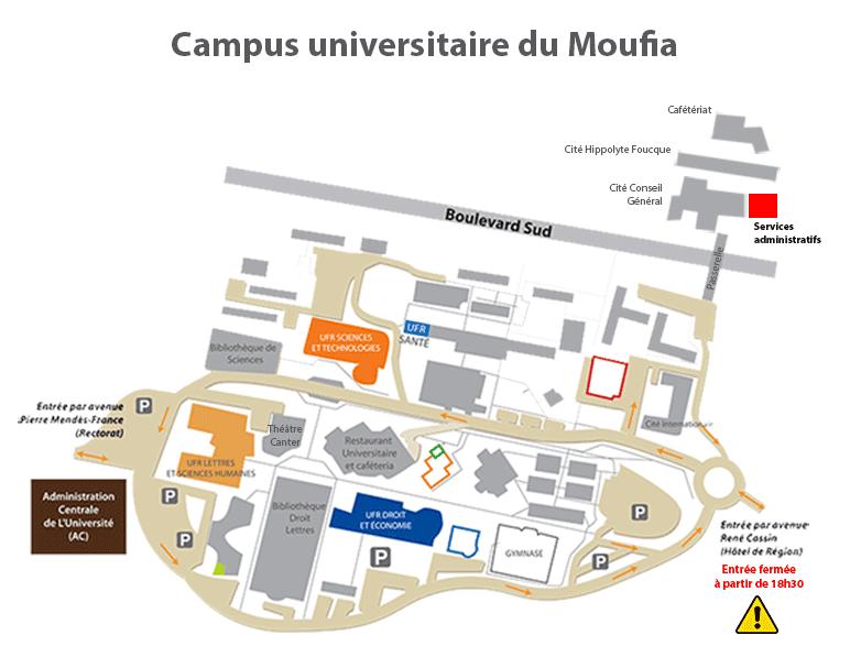 Carte Campus Bordeaux.Plan Campus Moufia Crous De La Reunion