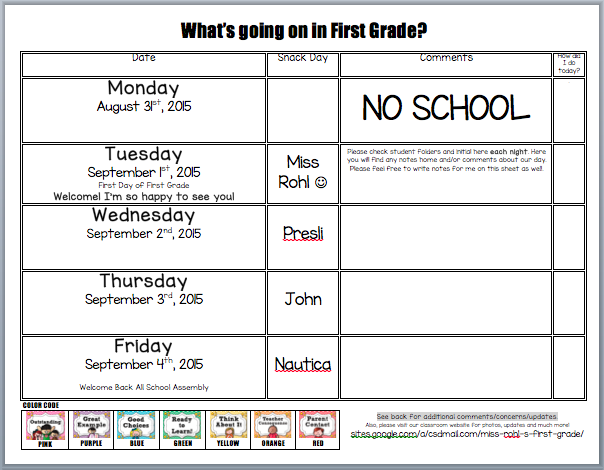 Classroom Behavior Plan - Miss Rohl's First Grade