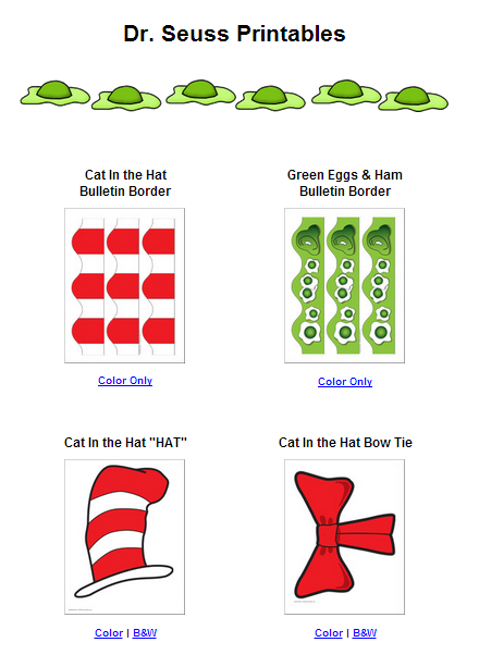 photo about Dr Seuss Printable Hat identify Dr. Seuss Printables - Dr. Seuss Entertaining