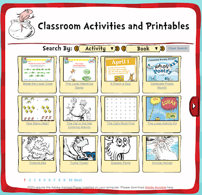 http://www.seussville.com/Educators/educatorClassroomResources.php?id=printables