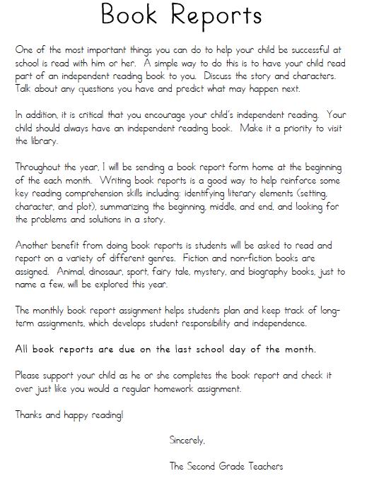 Book Report  Faria Nd Grade Teachers Book Report