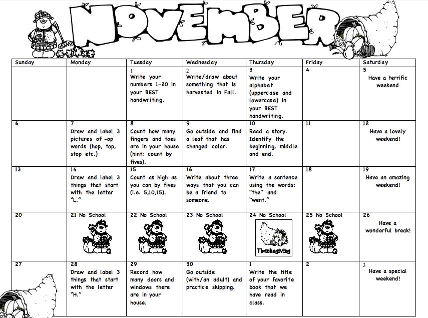 Homework Calendar Kindergarten : Monthly homework miss lee s kindergarten