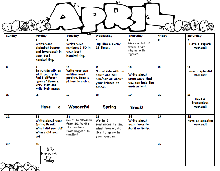 April Calendar S Kindergarten : Monthly homework miss lee s kindergarten