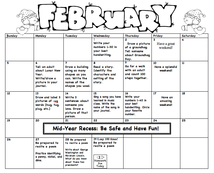 Kindergarten Calendar Homework : Monthly homework miss lee s kindergarten