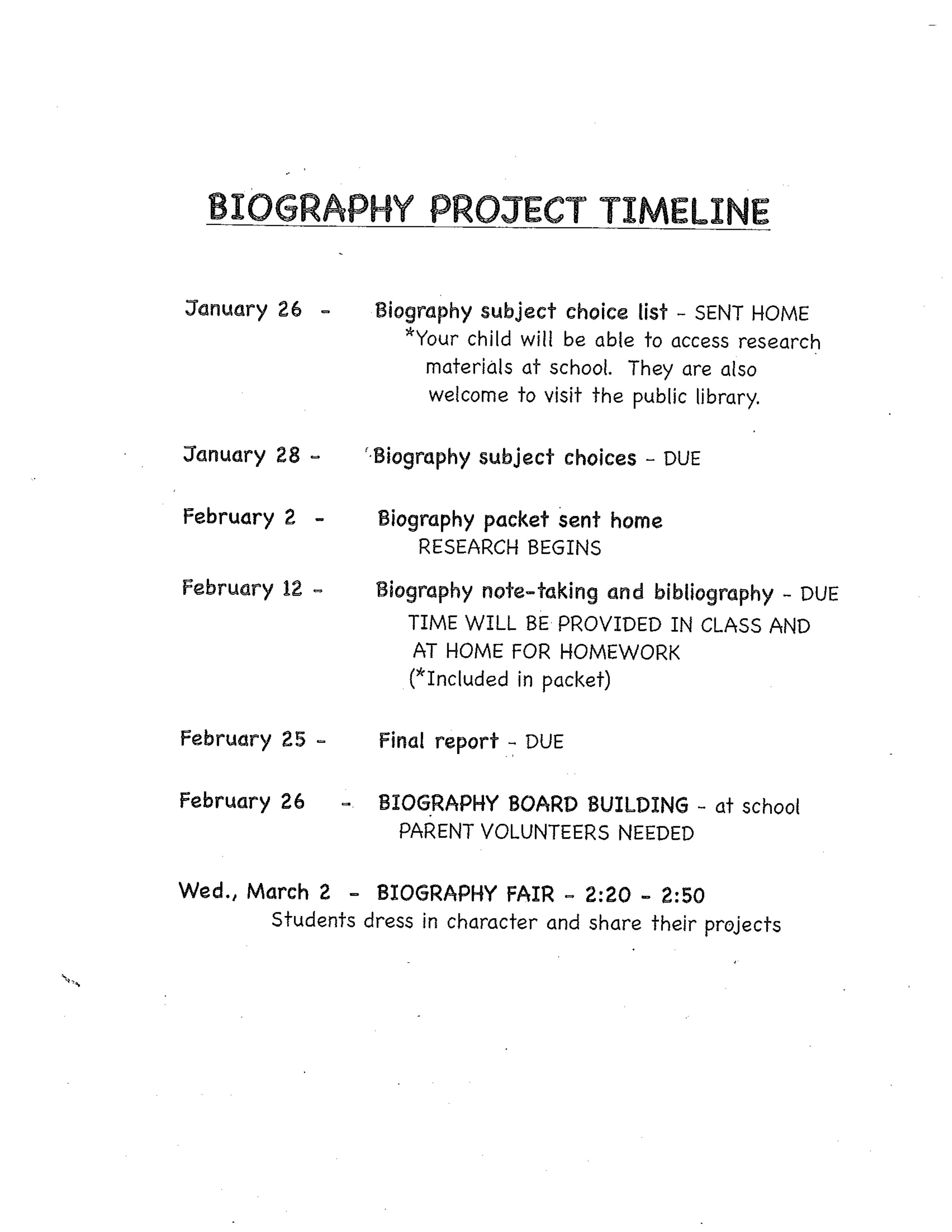 Biography Information is Here Monroe Elementary Third Grade – Sample Biography Timeline